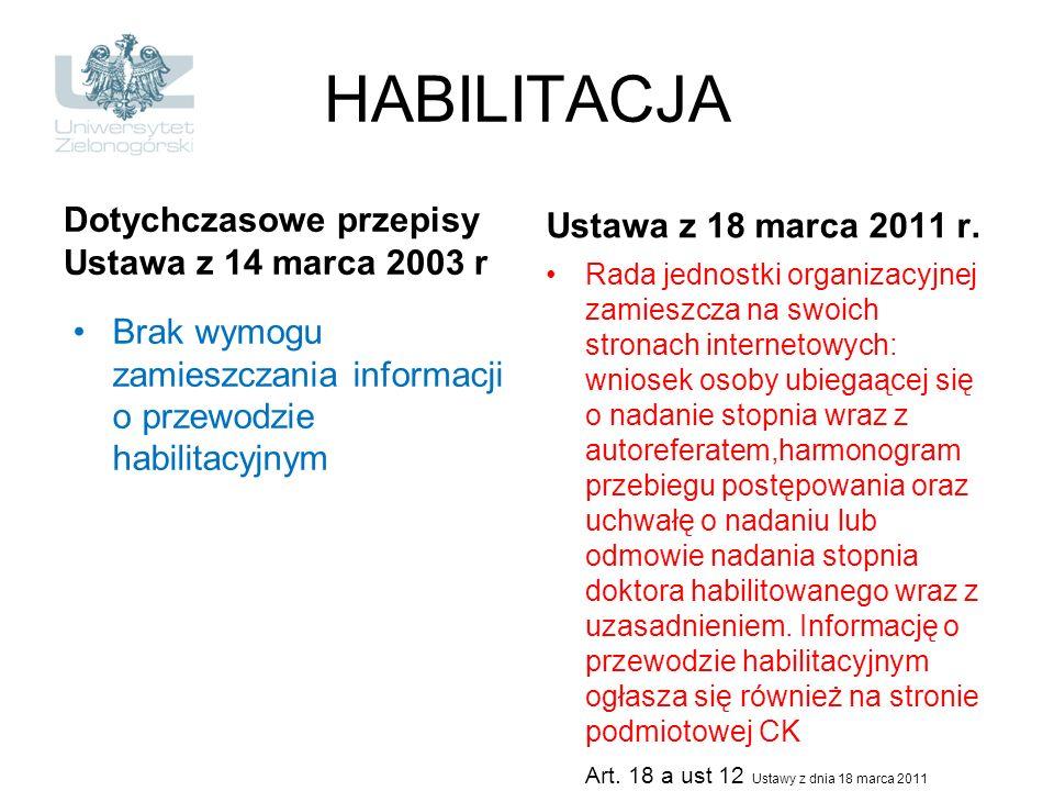 HABILITACJA Dotychczasowe przepisy Ustawa z 14 marca 2003 r Brak wymogu zamieszczania informacji o przewodzie habilitacyjnym Ustawa z 18 marca 2011 r.