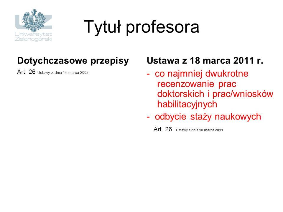 Tytuł profesora Dotychczasowe przepisy Art. 26 Ustawy z dnia 14 marca 2003 Ustawa z 18 marca 2011 r. - co najmniej dwukrotne recenzowanie prac doktors