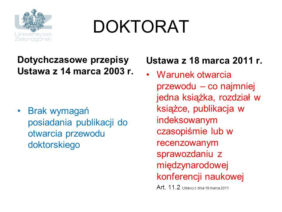DOKTORAT Dotychczasowe przepisy Ustawa z 14 marca 2003 r. Brak wymagań posiadania publikacji do otwarcia przewodu doktorskiego Ustawa z 18 marca 2011