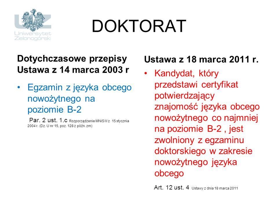 DOKTORAT Dotychczasowe przepisy Ustawa z 14 marca 2003 r Egzamin z języka obcego nowożytnego na poziomie B-2 Par. 2 ust. 1.c Rozporządzenie MNiSW z 15