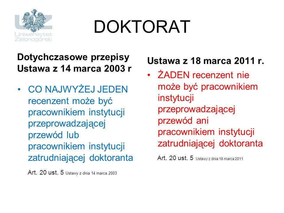 DOKTORAT Dotychczasowe przepisy Ustawa z 14 marca 2003 r CO NAJWYŻEJ JEDEN recenzent może być pracownikiem instytucji przeprowadzającej przewód lub pr