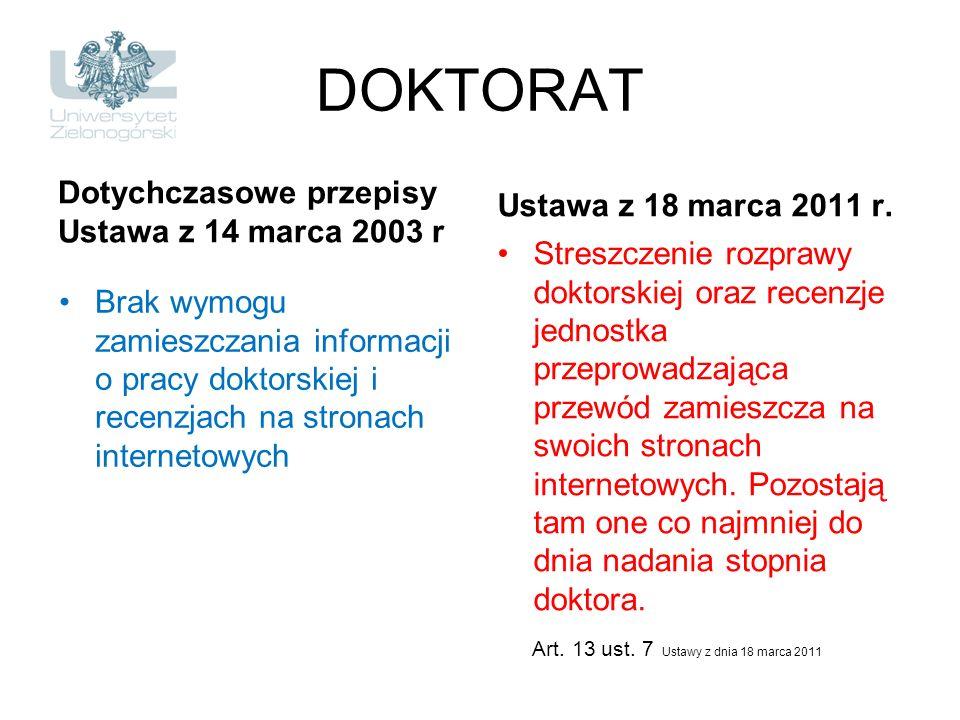 DOKTORAT Dotychczasowe przepisy Ustawa z 14 marca 2003 r Brak wymogu zamieszczania informacji o pracy doktorskiej i recenzjach na stronach internetowy
