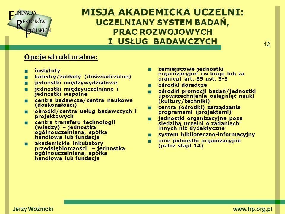 12 Jerzy Woźnicki www.frp.org.pl MISJA AKADEMICKA UCZELNI: UCZELNIANY SYSTEM BADAŃ, PRAC ROZWOJOWYCH I USŁUG BADAWCZYCH Opcje strukturalne: instytuty