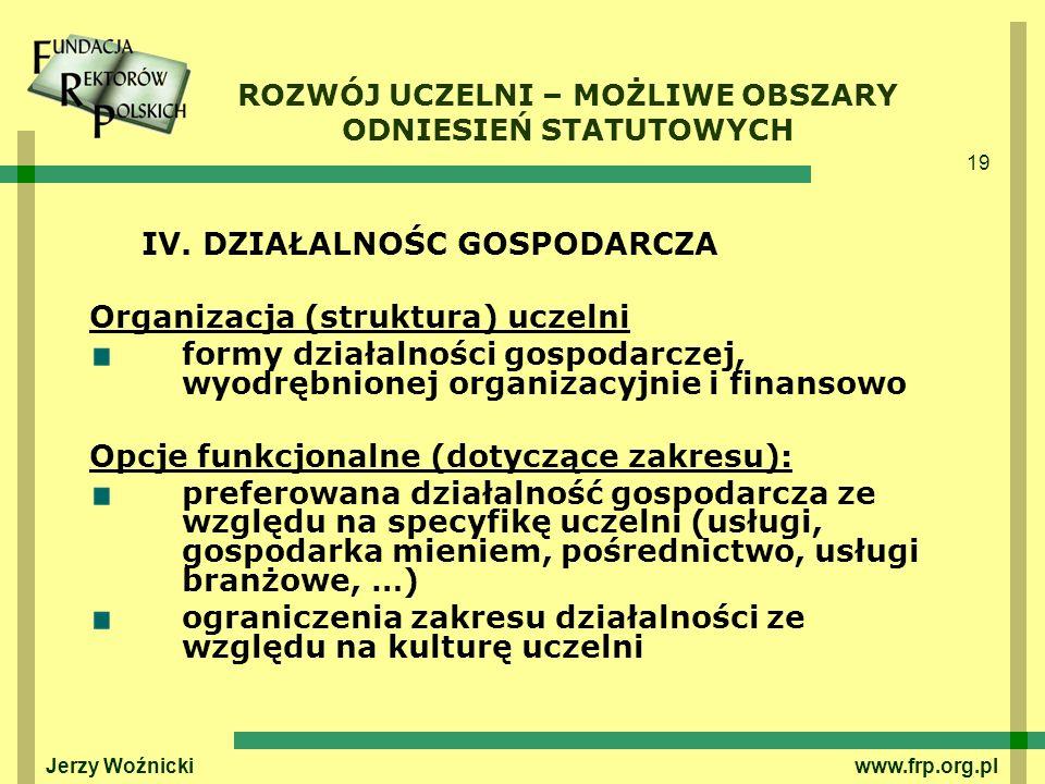 19 Jerzy Woźnicki www.frp.org.pl ROZWÓJ UCZELNI – MOŻLIWE OBSZARY ODNIESIEŃ STATUTOWYCH IV. DZIAŁALNOŚC GOSPODARCZA Organizacja (struktura) uczelni fo