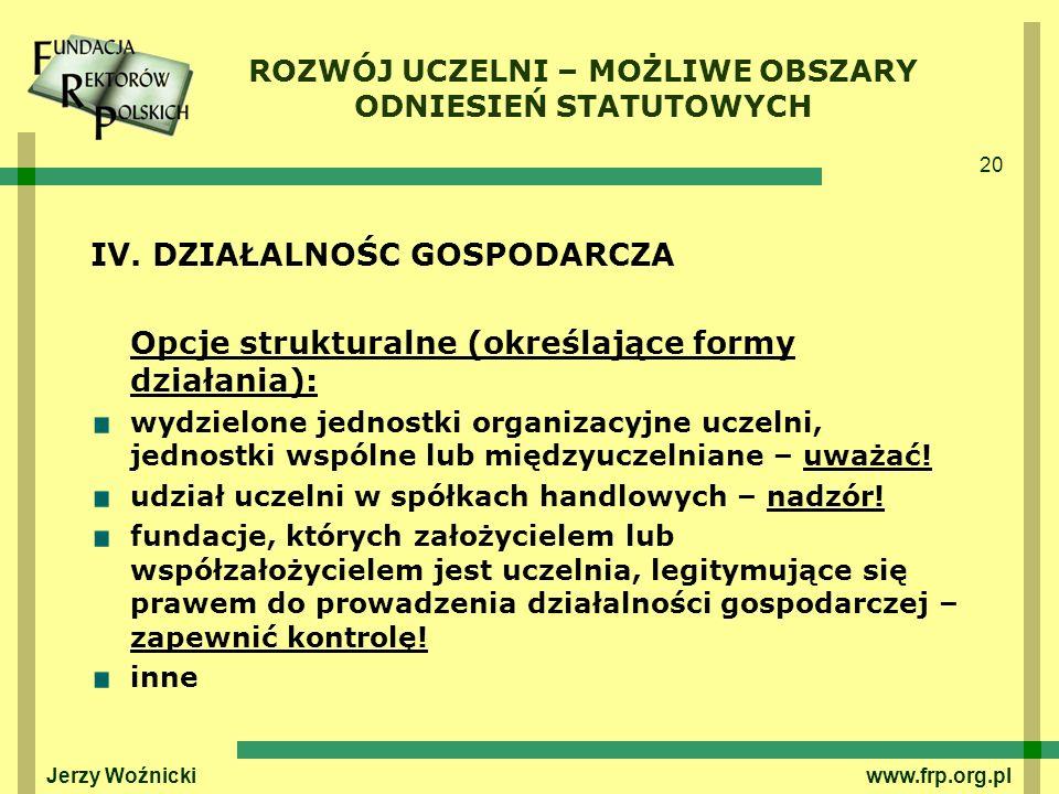 20 Jerzy Woźnicki www.frp.org.pl IV. DZIAŁALNOŚC GOSPODARCZA Opcje strukturalne (określające formy działania): wydzielone jednostki organizacyjne ucze