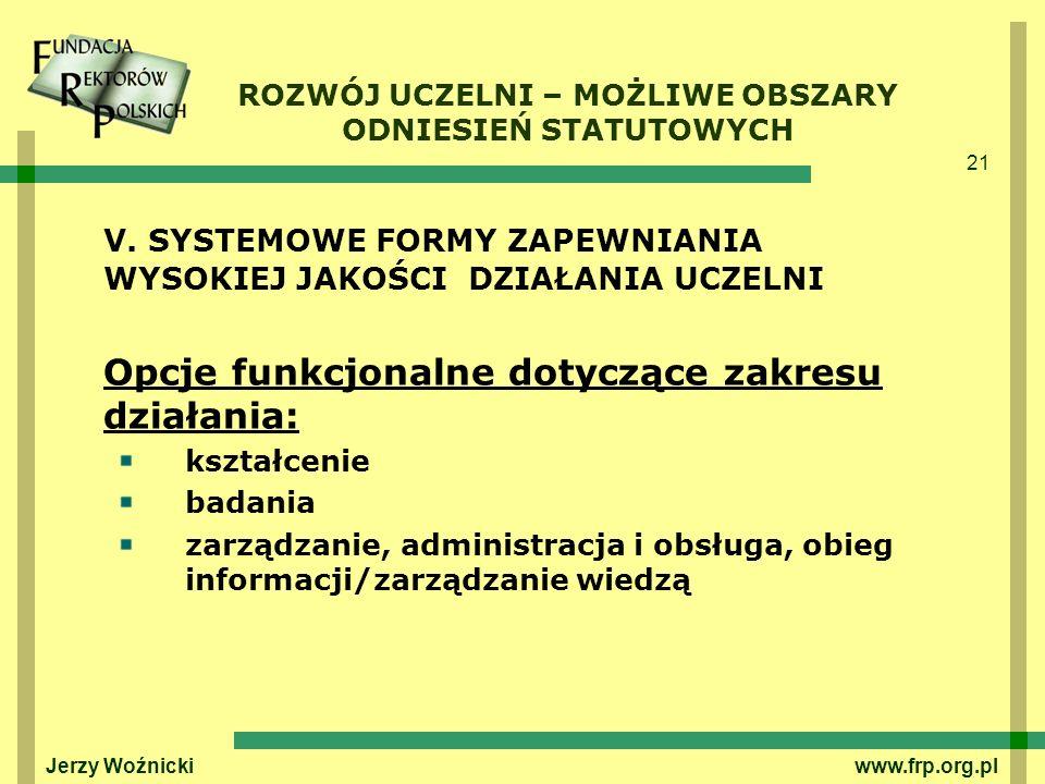 21 Jerzy Woźnicki www.frp.org.pl V. SYSTEMOWE FORMY ZAPEWNIANIA WYSOKIEJ JAKOŚCI DZIAŁANIA UCZELNI Opcje funkcjonalne dotyczące zakresu działania: ksz