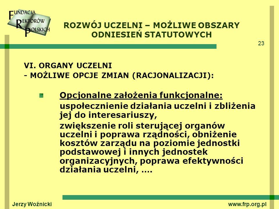 23 Jerzy Woźnicki www.frp.org.pl VI. ORGANY UCZELNI - MOŻLIWE OPCJE ZMIAN (RACJONALIZACJI): Opcjonalne założenia funkcjonalne: uspołecznienie działani