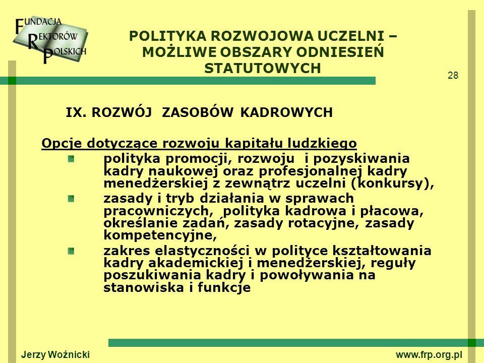 28 Jerzy Woźnicki www.frp.org.pl IX. ROZWÓJ ZASOBÓW KADROWYCH Opcje dotyczące rozwoju kapitału ludzkiego polityka promocji, rozwoju i pozyskiwania kad