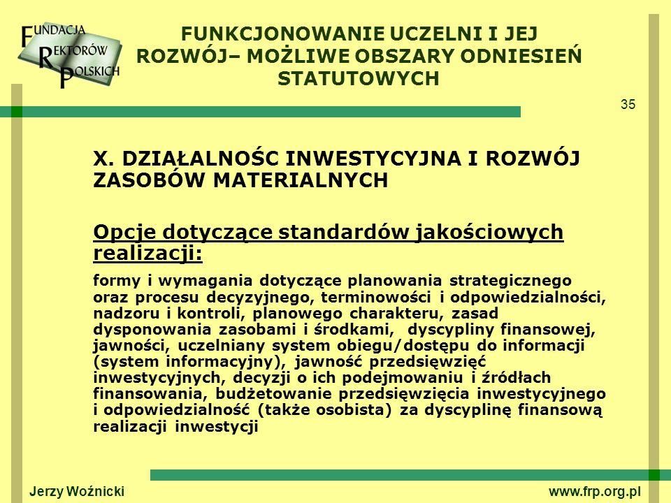 35 Jerzy Woźnicki www.frp.org.pl X. DZIAŁALNOŚC INWESTYCYJNA I ROZWÓJ ZASOBÓW MATERIALNYCH Opcje dotyczące standardów jakościowych realizacji: formy i