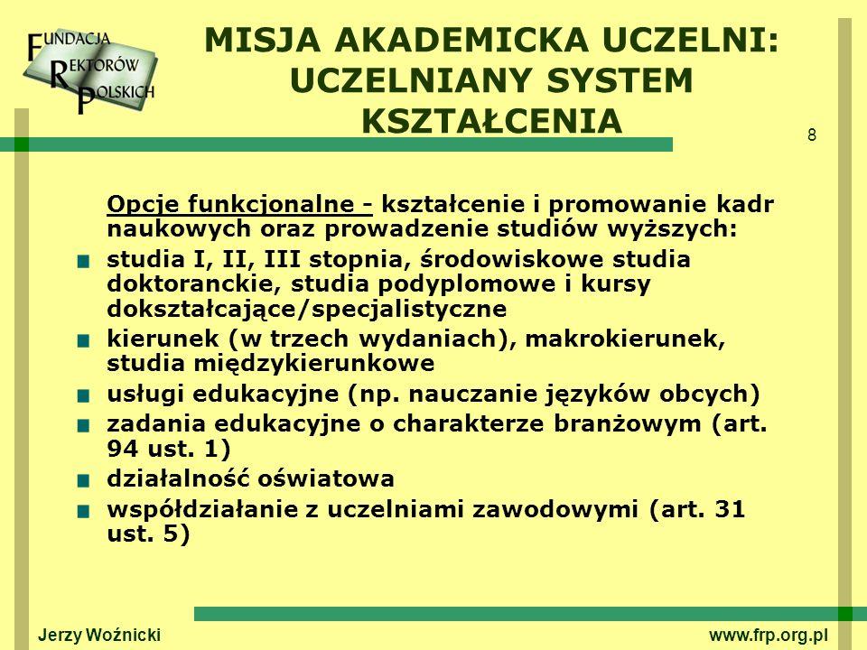 8 Jerzy Woźnicki www.frp.org.pl MISJA AKADEMICKA UCZELNI: UCZELNIANY SYSTEM KSZTAŁCENIA Opcje funkcjonalne - kształcenie i promowanie kadr naukowych o