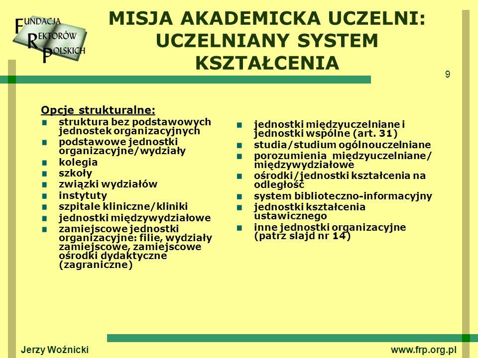 9 Jerzy Woźnicki www.frp.org.pl MISJA AKADEMICKA UCZELNI: UCZELNIANY SYSTEM KSZTAŁCENIA Opcje strukturalne: struktura bez podstawowych jednostek organ