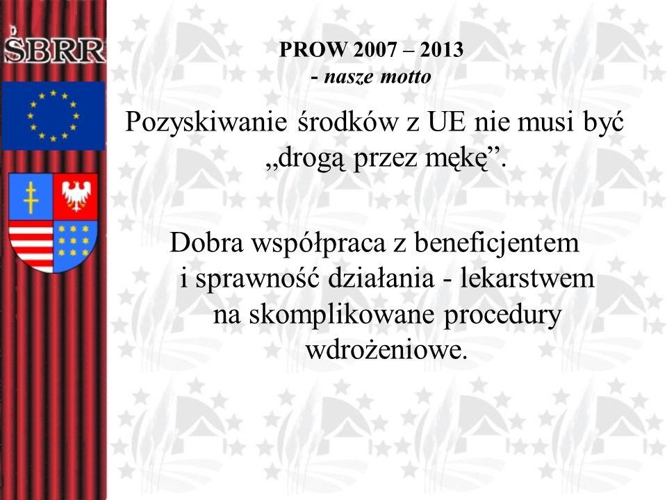 PROW 2007 – 2013 - nasze motto Pozyskiwanie środków z UE nie musi być drogą przez mękę. Dobra współpraca z beneficjentem i sprawność działania - lekar