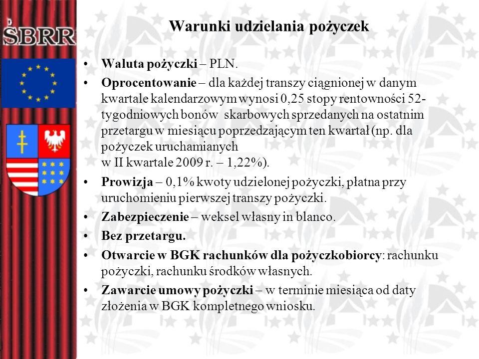Warunki udzielania pożyczek Waluta pożyczki – PLN. Oprocentowanie – dla każdej transzy ciągnionej w danym kwartale kalendarzowym wynosi 0,25 stopy ren