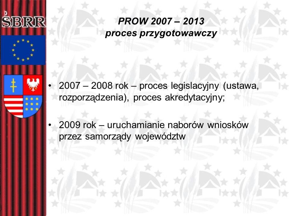 PROW 2007 – 2013 proces przygotowawczy 2007 – 2008 rok – proces legislacyjny (ustawa, rozporządzenia), proces akredytacyjny; 2009 rok – uruchamianie n