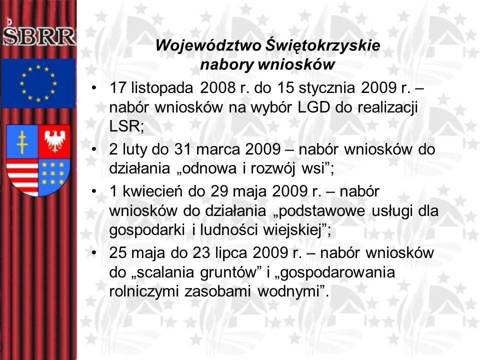 Województwo Świętokrzyskie nabory wniosków 17 listopada 2008 r. do 15 stycznia 2009 r. – nabór wniosków na wybór LGD do realizacji LSR; 2 luty do 31 m