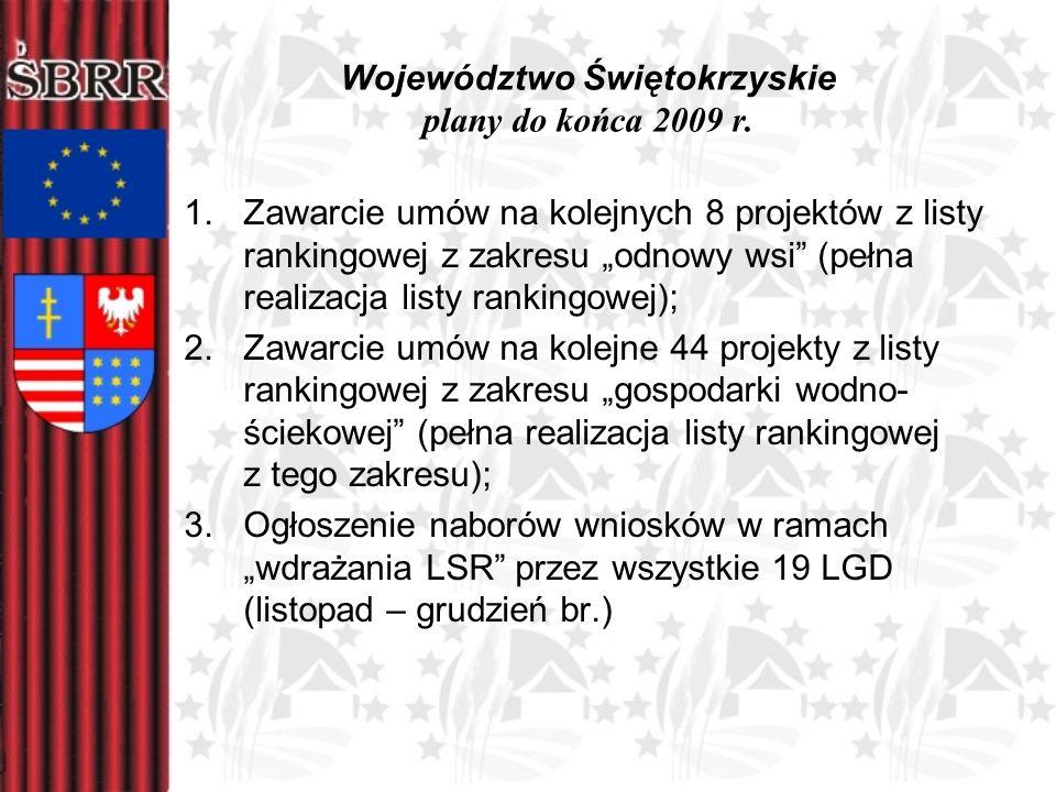 Województwo Świętokrzyskie plany do końca 2009 r. 1.Zawarcie umów na kolejnych 8 projektów z listy rankingowej z zakresu odnowy wsi (pełna realizacja