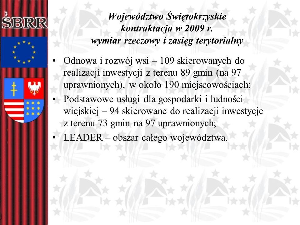 Województwo Świętokrzyskie kontraktacja w 2009 r. wymiar rzeczowy i zasięg terytorialny Odnowa i rozwój wsi – 109 skierowanych do realizacji inwestycj