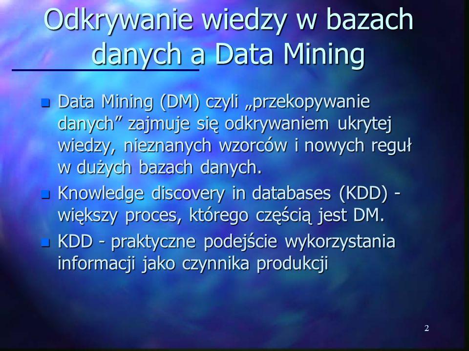 13 Data Mining n Nie istnieje jedyny i najlepszy algorytm uczenia maszynowego lub rozpoznawania wzorców n DM wymaga: –skutecznej metody próbkowania –przechowywania wyników pośrednich –indeksów geometrycznych (do przeszukiwania sąsiedztwa punktu) lub indeksów bitmapowych