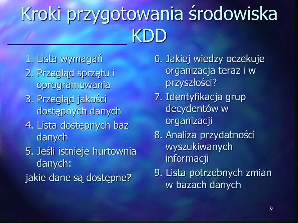 9 Kroki przygotowania środowiska KDD 1. Lista wymagań 2. Przegląd sprzętu i oprogramowania 3. Przegląd jakości dostępnych danych 4. Lista dostępnych b