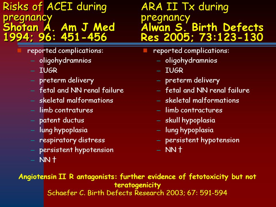 Risks of ACEI during pregnancy Shotan A. Am J Med 1994; 96: 451-456 reported complications: – oligohydramnios – IUGR – preterm delivery – fetal and NN