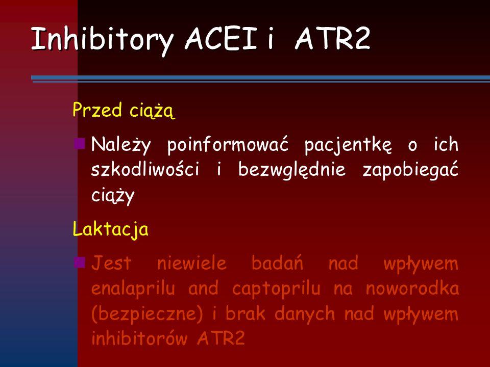 Inhibitory ACEI i ATR2 Przed ciążą Należy poinformować pacjentkę o ich szkodliwości i bezwględnie zapobiegać ciąży Laktacja Jest niewiele badań nad wp