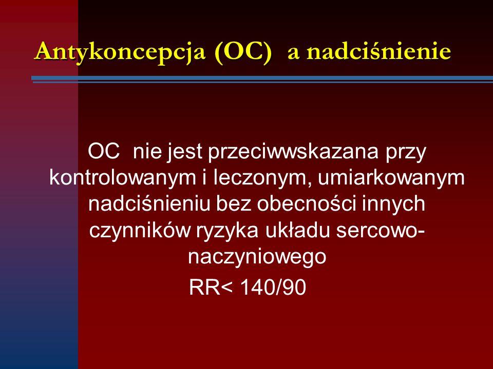 OC nie jest przeciwwskazana przy kontrolowanym i leczonym, umiarkowanym nadciśnieniu bez obecności innych czynników ryzyka układu sercowo- naczynioweg