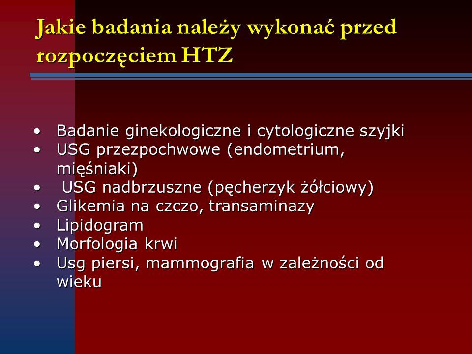 Jakie badania należy wykonać przed rozpoczęciem HTZ Badanie ginekologiczne i cytologiczne szyjkiBadanie ginekologiczne i cytologiczne szyjki USG przez