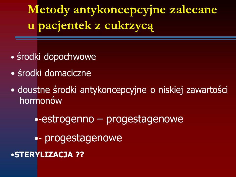 Metody antykoncepcyjne zalecane u pacjentek z cukrzycą środki dopochwowe środki domaciczne doustne środki antykoncepcyjne o niskiej zawartości hormonó