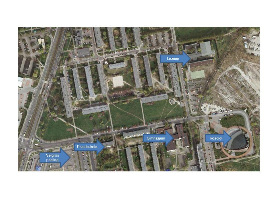kościółGimnazjum Liceum Selgros parking Przedszkole