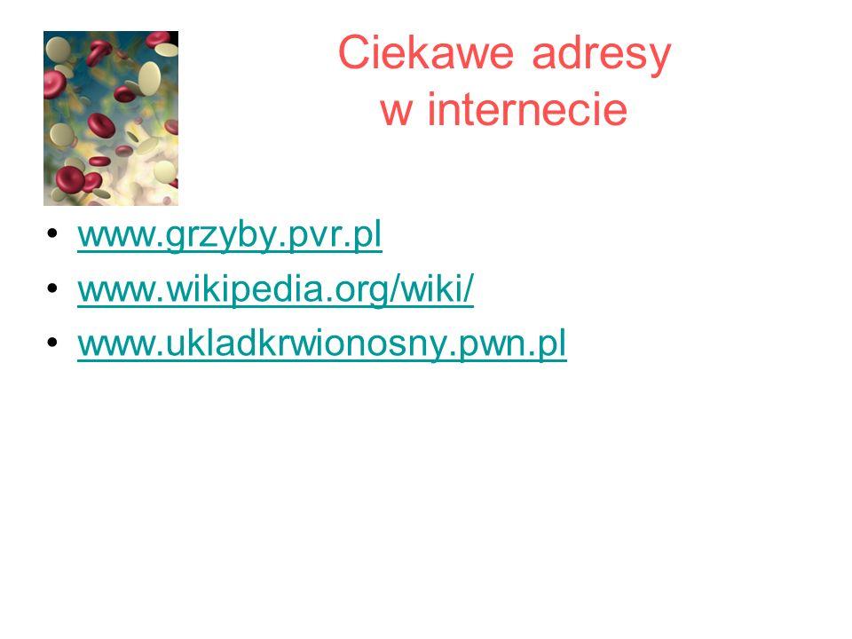 Ciekawe adresy w internecie www.grzyby.pvr.pl www.wikipedia.org/wiki/ www.ukladkrwionosny.pwn.pl