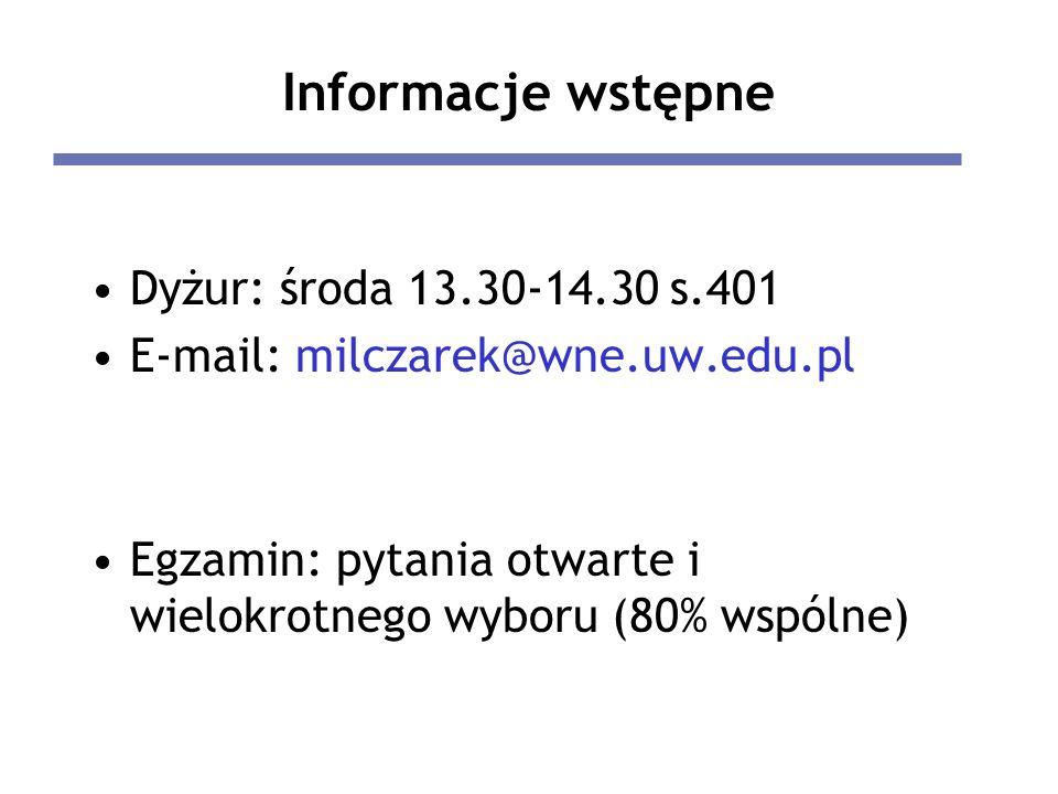 Informacje wstępne Dyżur: środa 13.30-14.30 s.401 E-mail: milczarek@wne.uw.edu.pl Egzamin: pytania otwarte i wielokrotnego wyboru (80% wspólne)