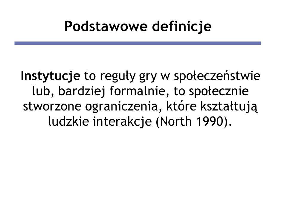 Podstawowe definicje Instytucje to reguły gry w społeczeństwie lub, bardziej formalnie, to społecznie stworzone ograniczenia, które kształtują ludzkie interakcje (North 1990).