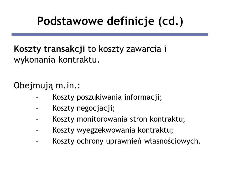 Podstawowe definicje (cd.) Koszty transakcji to koszty zawarcia i wykonania kontraktu.