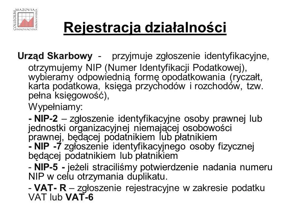 Rejestracja działalności Urząd Skarbowy - przyjmuje zgłoszenie identyfikacyjne, otrzymujemy NIP (Numer Identyfikacji Podatkowej), wybieramy odpowiedni