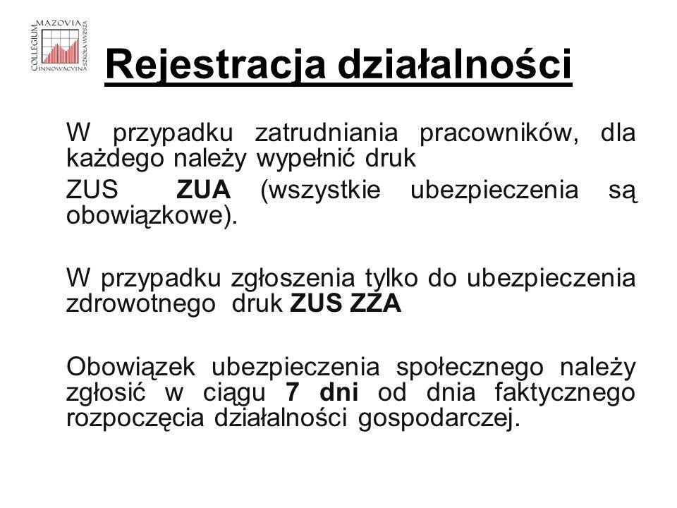 Rejestracja działalności W przypadku zatrudniania pracowników, dla każdego należy wypełnić druk ZUS ZUA (wszystkie ubezpieczenia są obowiązkowe). W pr