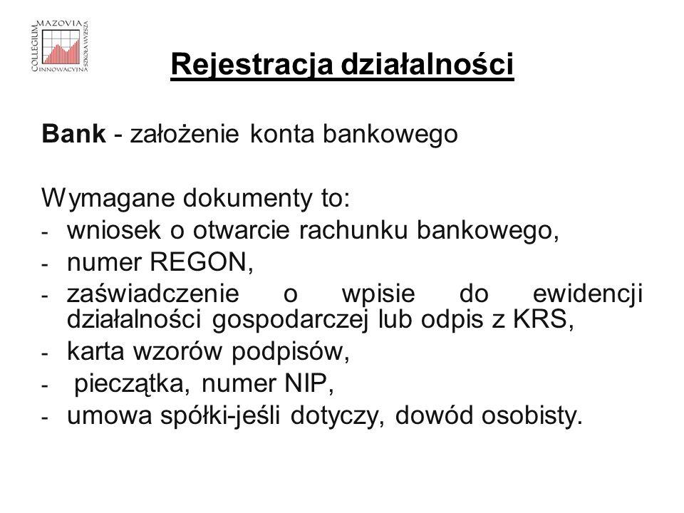Rejestracja działalności Bank - założenie konta bankowego Wymagane dokumenty to: - wniosek o otwarcie rachunku bankowego, - numer REGON, - zaświadczen