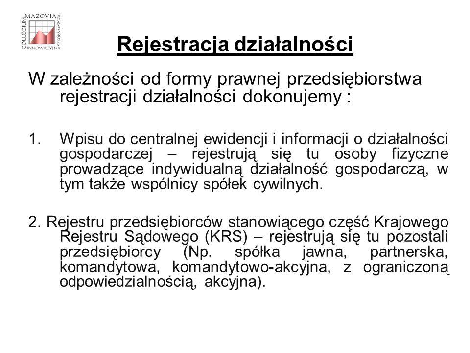 Rejestracja działalności W zależności od formy prawnej przedsiębiorstwa rejestracji działalności dokonujemy : 1.Wpisu do centralnej ewidencji i inform