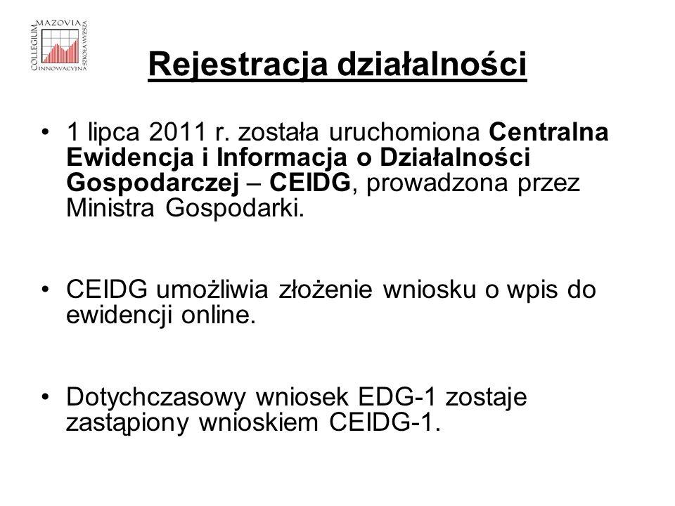 Rejestracja działalności Zgłoszenie działalności musi zawierać ( CEIDG-1): - imię i nazwisko przedsiębiorcy oraz jego PESEL - nazwę firmy, przedmiot działalności wg PKD - miejsce wykonywania działalności gospodarczej - datę rozpoczęcia działalności gospodarczej.