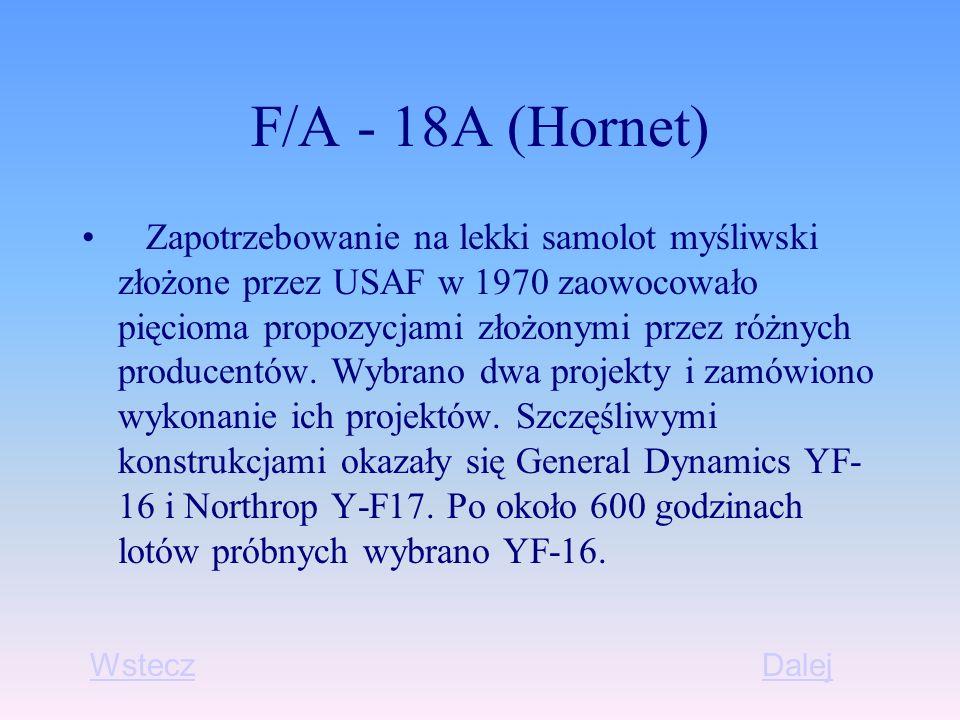 F/A - 18A (Hornet) Zapotrzebowanie na lekki samolot myśliwski złożone przez USAF w 1970 zaowocowało pięcioma propozycjami złożonymi przez różnych producentów.
