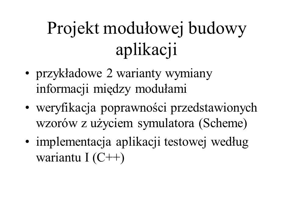Projekt modułowej budowy aplikacji przykładowe 2 warianty wymiany informacji między modułami weryfikacja poprawności przedstawionych wzorów z użyciem