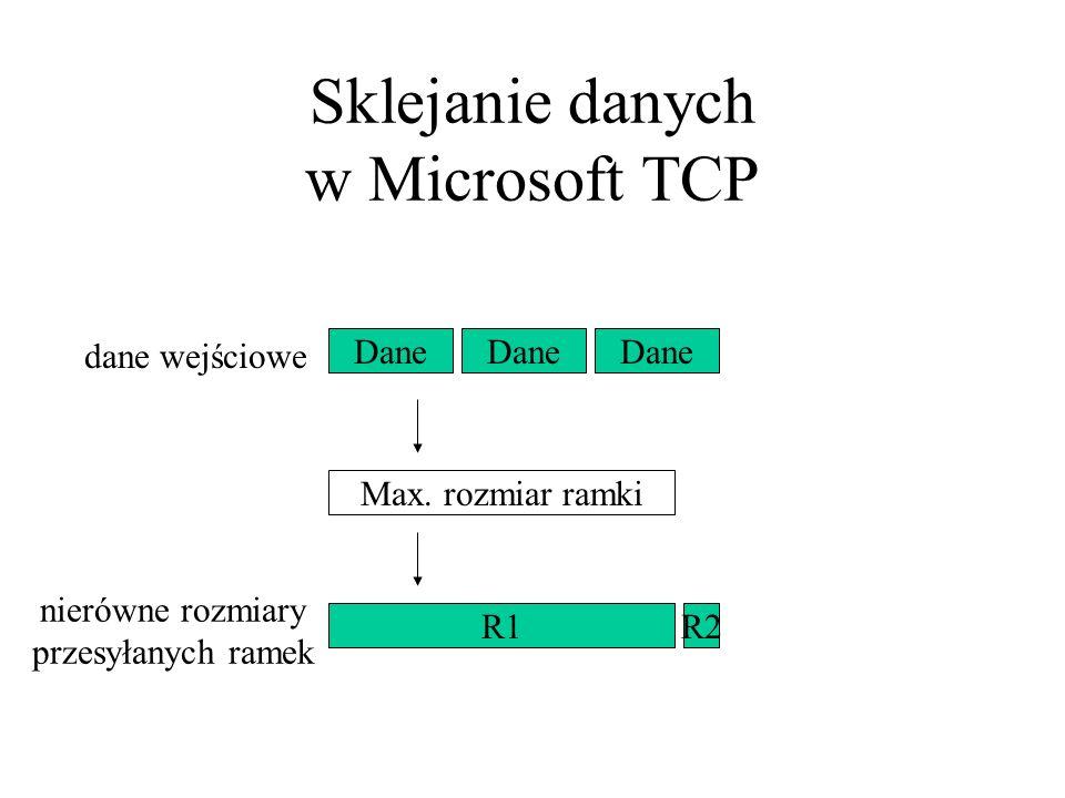 Sklejanie danych w Microsoft TCP Max. rozmiar ramki Dane R2R1 dane wejściowe nierówne rozmiary przesyłanych ramek