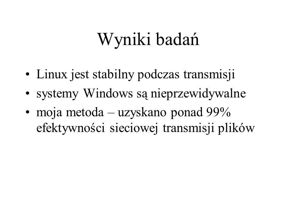 Wyniki badań Linux jest stabilny podczas transmisji systemy Windows są nieprzewidywalne moja metoda – uzyskano ponad 99% efektywności sieciowej transm