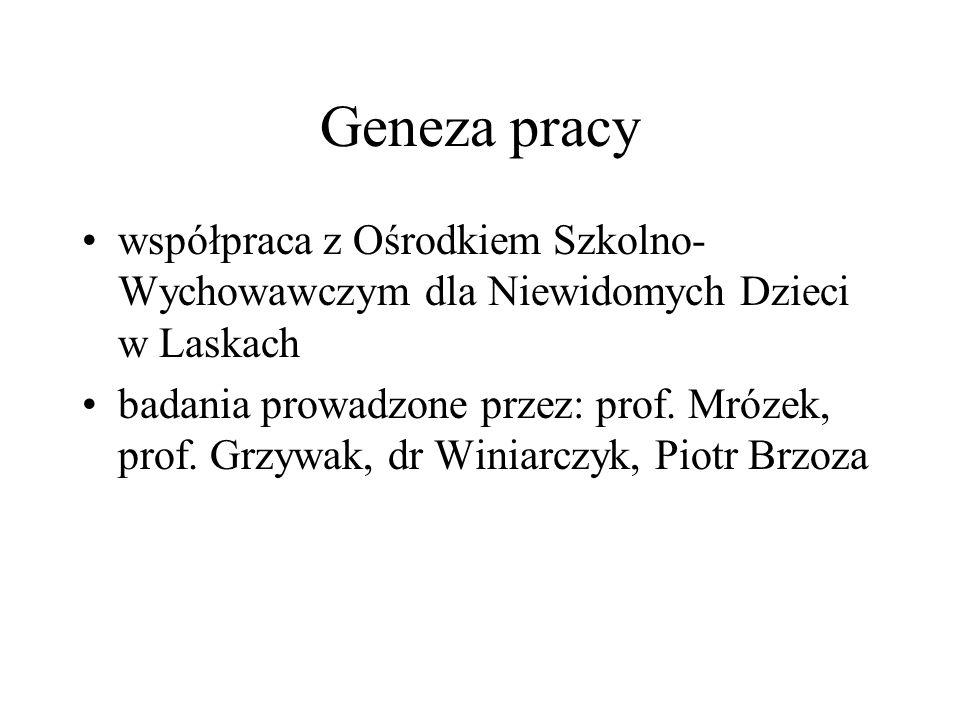 Geneza pracy współpraca z Ośrodkiem Szkolno- Wychowawczym dla Niewidomych Dzieci w Laskach badania prowadzone przez: prof. Mrózek, prof. Grzywak, dr W