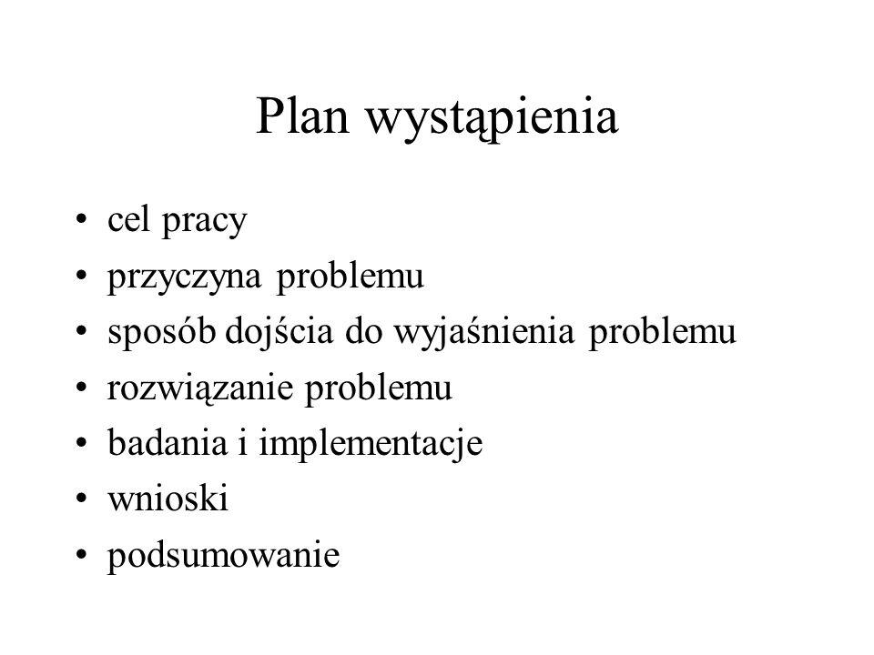 Plan wystąpienia cel pracy przyczyna problemu sposób dojścia do wyjaśnienia problemu rozwiązanie problemu badania i implementacje wnioski podsumowanie