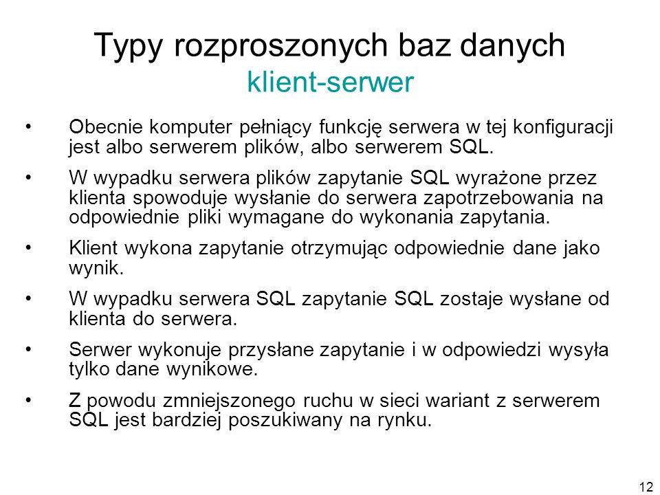 12 Typy rozproszonych baz danych klient-serwer Obecnie komputer pełniący funkcję serwera w tej konfiguracji jest albo serwerem plików, albo serwerem SQL.