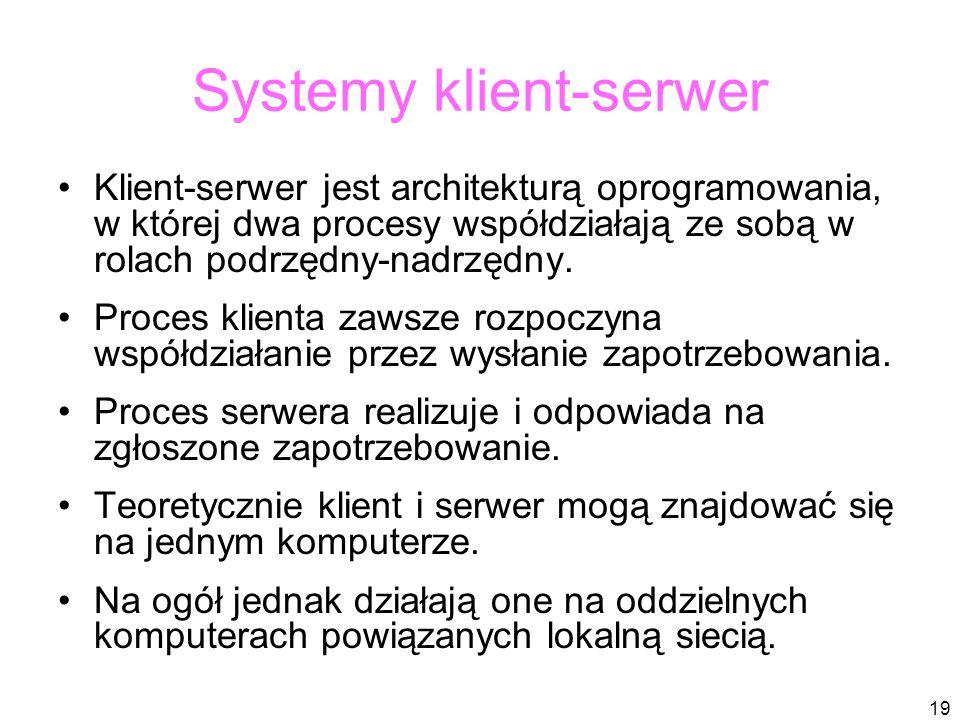 19 Systemy klient-serwer Klient-serwer jest architekturą oprogramowania, w której dwa procesy współdziałają ze sobą w rolach podrzędny-nadrzędny.