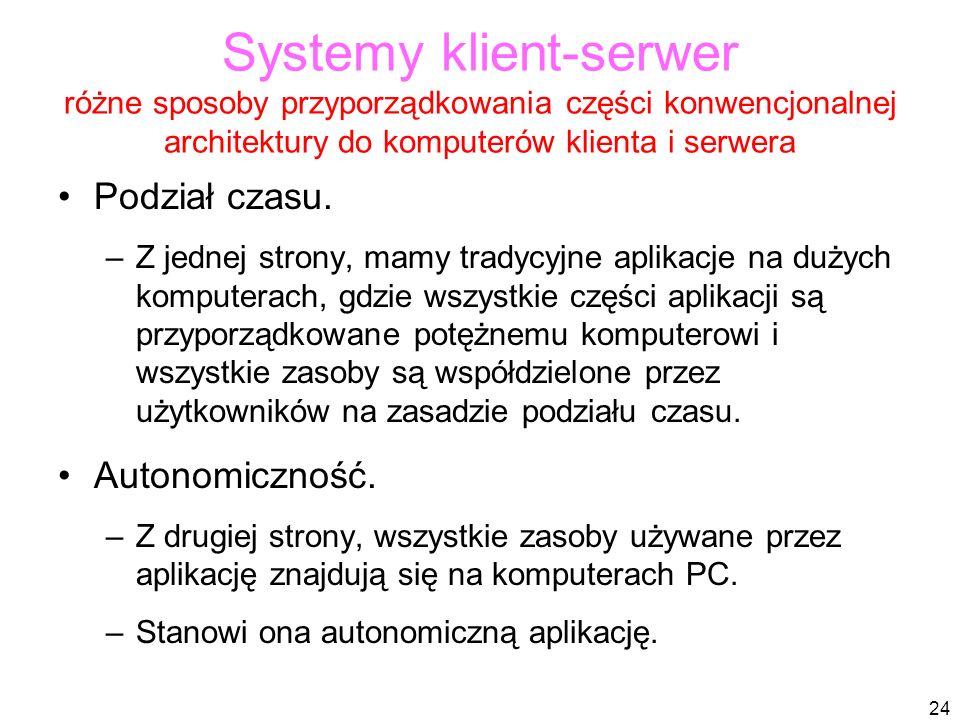 24 Systemy klient-serwer różne sposoby przyporządkowania części konwencjonalnej architektury do komputerów klienta i serwera Podział czasu.