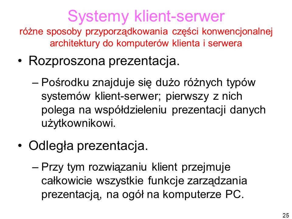 25 Systemy klient-serwer różne sposoby przyporządkowania części konwencjonalnej architektury do komputerów klienta i serwera Rozproszona prezentacja.