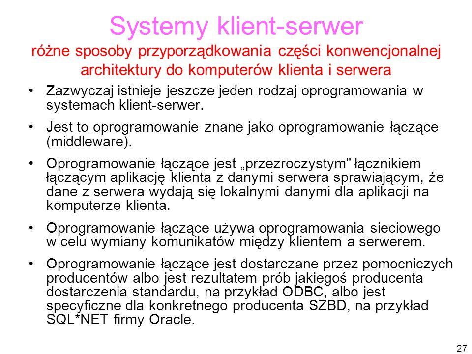 27 Systemy klient-serwer różne sposoby przyporządkowania części konwencjonalnej architektury do komputerów klienta i serwera Zazwyczaj istnieje jeszcze jeden rodzaj oprogramowania w systemach klient-serwer.