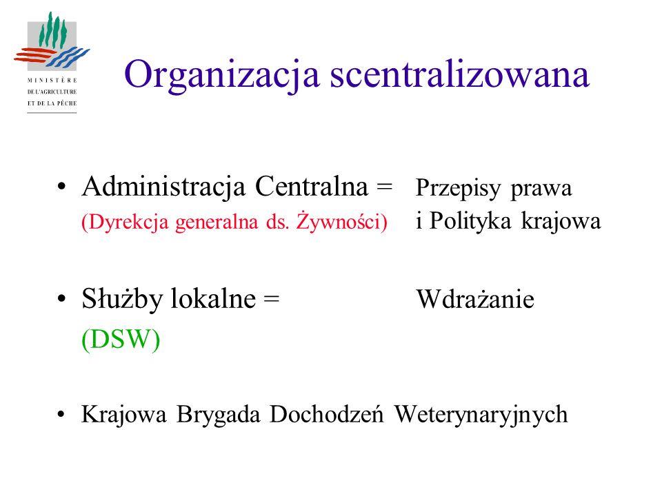 Organizacja scentralizowana Administracja Centralna = Przepisy prawa (Dyrekcja generalna ds. Żywności) i Polityka krajowa Służby lokalne = Wdrażanie (